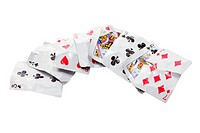Crumpled Playing Cards on White Background