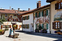 Germany, Bavaria, Mittenwald, Mural painting on buildings at Werdenfelser land