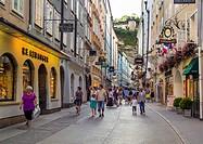 Austria, Salzburg, People at Getreidegasse