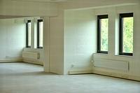 white empty room with windows