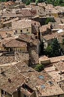 Europe, France, Alpes-de-Haute-Provence, Regional Natural Park of Verdon. Moustiers-Sainte-Marie, labeled The Most Beautiful Villages of France. The r...