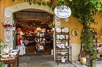 Europe, France, Alpes-de-Haute-Provence, Regional Natural Park of Verdon. Moustiers-Sainte-Marie, labeled The Most Beautiful Villages of France. Ceram...