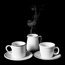 Teatime  Two cups and milk  Hot