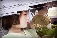 Fukuyu,geisha and Fukukimi,´maiko´ geisha apprenticein taxi going to work Geisha´s distric of Miyagawacho Kyoto  Kansai, Japan