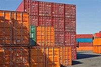 Stacked shipping containers-port-Yokohama-Japan