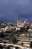 Snow on Valldemossa, Sierra de Tramuntana Majorca Balearic Islands Spain