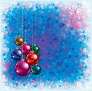 blue greeting with Christmas decorations and snowflakes