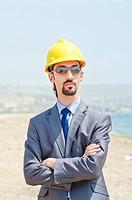 Oil engineer on sea side beach