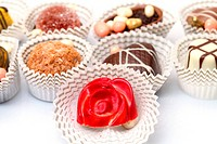 Assorted Chocolates Candy in Paper Basket