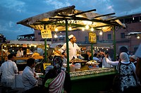 A local snails food stall at the night market in Marrakesh's Djema el fna sq.