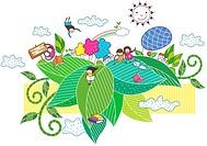 leaf of children playing