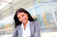 Portrait of smiling saleswoman