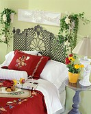 Garden_themed twin bed with potted plants