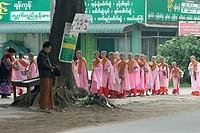 Buddhist novice nuns  Pyin U Lwin, formely Maymyo  Mandalay Division  Burma  Republic of the Union of Myanmar.