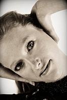 Portrait of woman, gymnastics, Studio shot