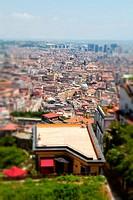 Cityscape on Naples with tilt-shift effect