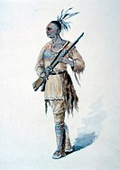 Mohican Warrior, Watercolor Painting by William L Wells for the Columbia Exposition Pageant, 1892