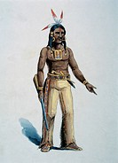 Native American, Watercolor Painting by William L. Wells fo the Columbian Exposition Pageant, 1892