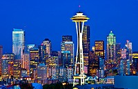 Seattle Washington skyline from Queen Annes Hill with Space Needle and city at night exposure