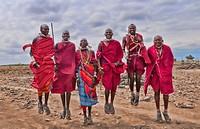 Kenya Africa Amboseli Masai men in red costume dress and beads in Amboseli National Park safari 1
