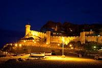 Vila Vella historic district at night, Tossa de Mar, Costa Brava, Catalonia, Spain, Europe, PublicGround