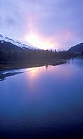 Sunset on Resurrection River with Harding Ice field in distance, Kenal Mountains, Seward, Alaska