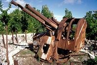 Second World War Japanese anti-aircraft gun on Command Ridge, Nauru, Central Pacific