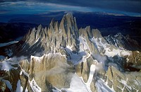 Aerial view at 3400 meters of Mount Fitzroy, Cerro Torre Range and Andes Mountains, Patagonia, Argentina
