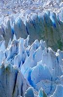 Icy formations of Perito Moreno Glacier at Canal de Tempanos in Parque Nacional Las Glaciares near El Calafate, Patagonia, Argentina