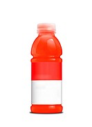 Carrot juice bottle on a white background