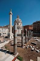 Italy, Lazio, Rome, Trajan´s Column background Church of S.S. Nome di Maria