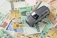 studio soot, money bills, car, miniature