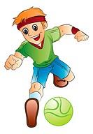 Boy Playing Soccer, vector illustration