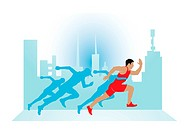 Running, runner in red outfit, vector illustration