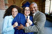 Proud family hugging graduate