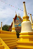 Golden chedi in grounds of Wat Mongkhon Nimit, Phuket Old Town, Phuket, Thailand, Southeast Asia, Asia