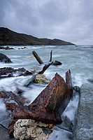 Rusted remains of the shipwrecked SS Collier at Rockham Bay near Morte Point, North Devon, England, United Kingdom, Europe