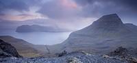 Mountain vista overlooking Skaelingur mountain and Vagar island in the background, Streymoy, Faroe Islands, Denmark, Europe