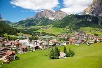 View of Corvara from cable car, Badia Valley, Bolzano Province, Trentino_Alto Adige/South Tyrol, Italian Dolomites, Italy, Europe