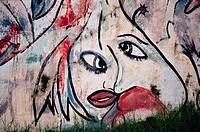 Graffiti of a human face on a wall