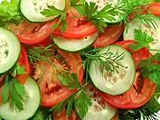 Tomato salad with cucumber