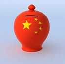 ceramic money box with Chinese flag, 3d illustration