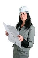 Architect woman white hardhat and plan