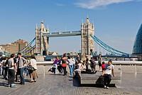 Tower Bridge from More London Place, More London Riverside, Southwark, London, England, United Kingdom, Europe