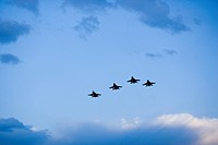 Low angle view of military aircrafts flying in the sky