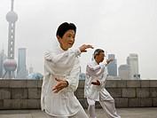 Seniors practicing tai chi.