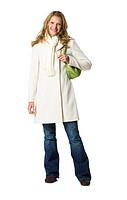young woman in a white overcoat.