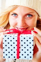 Woman holding gift