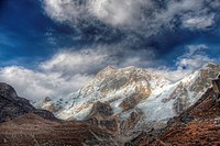 A high dynamic range HDR image of a storm clearing around the west face of Makalu, the fifth highest mountain in the world at 27,766 Feet 8,465 Meters...
