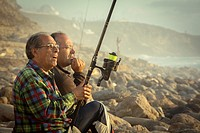 Two friends fishing in Ericeira